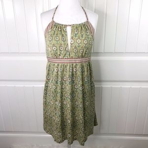Free People Green Boho Print Halter Keyhole Dress